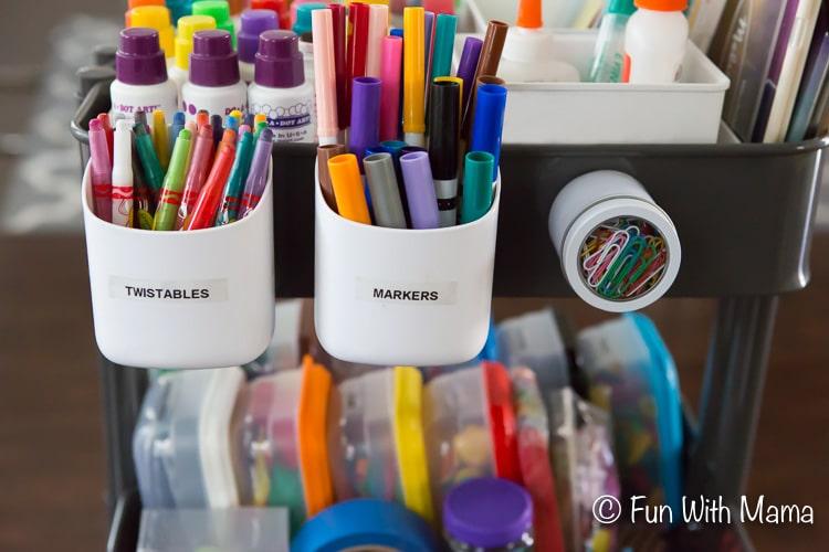 organize kids art supply