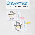 Snowman Clip Card Fractions