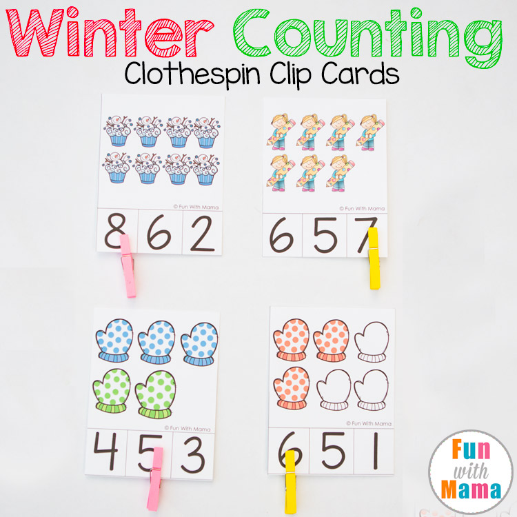 Winter preschool count and clip cards