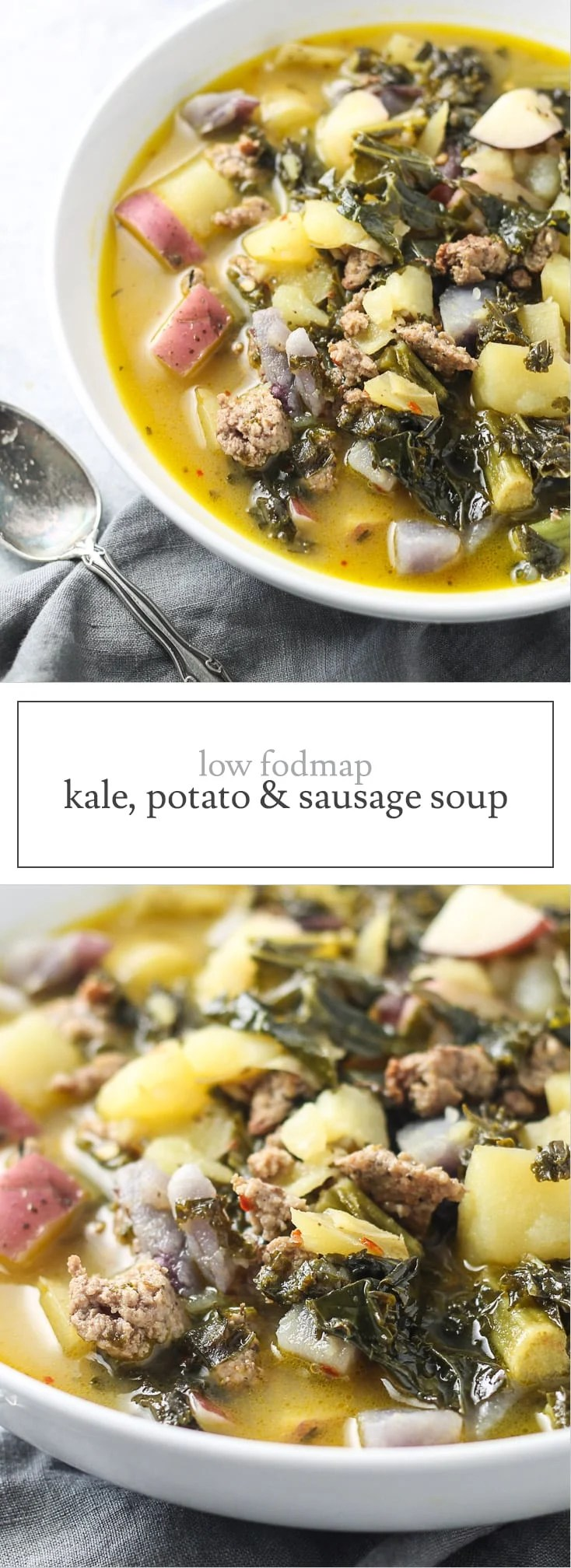 Warm up with a bowl of delicious Low FODMAP Kale, Potato, and Sausage Soup! Not only is this recipe veggie-filled, but it's also gluten and dairy free!