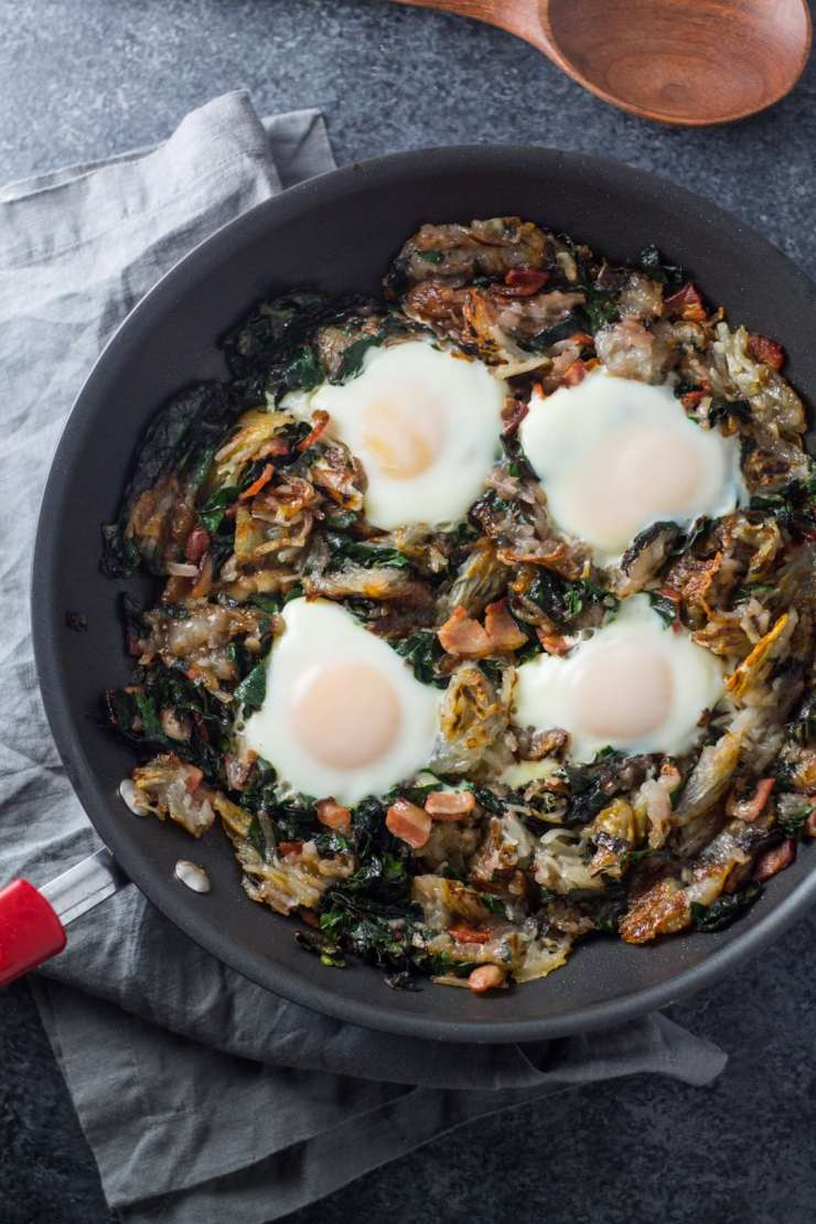 Filled with classic breakfast ingredients, this easy (and gluten free) Low Fodmap Bacon, Chard and Potato Hash is delicious anytime of the day!