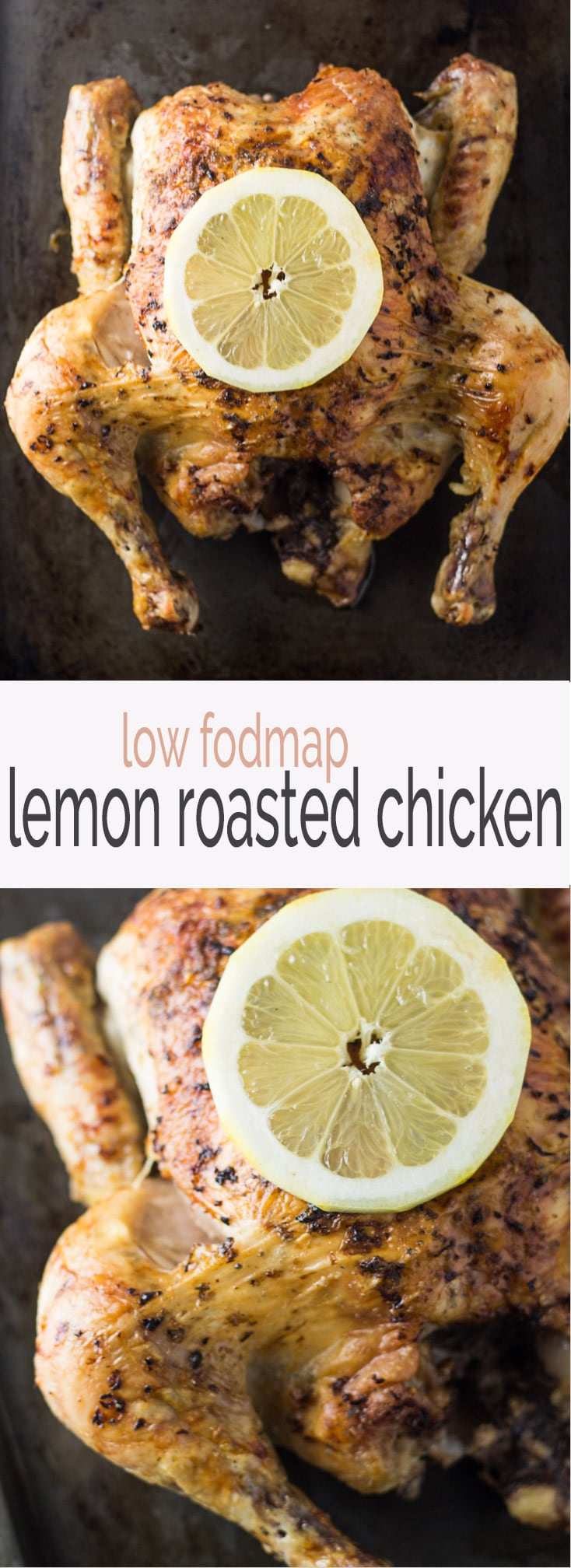 This easy Low Fodmap Lemon Roasted Chicken is the perfect cook once, eat twice (or more) dish! Save the bones to make your own Low Fodmap Chicken Broth. It's also gluten free, paleo and whole 30 friendly!