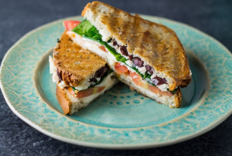 Close up side shot of low FODMAP Mediterranean grilled cheese
