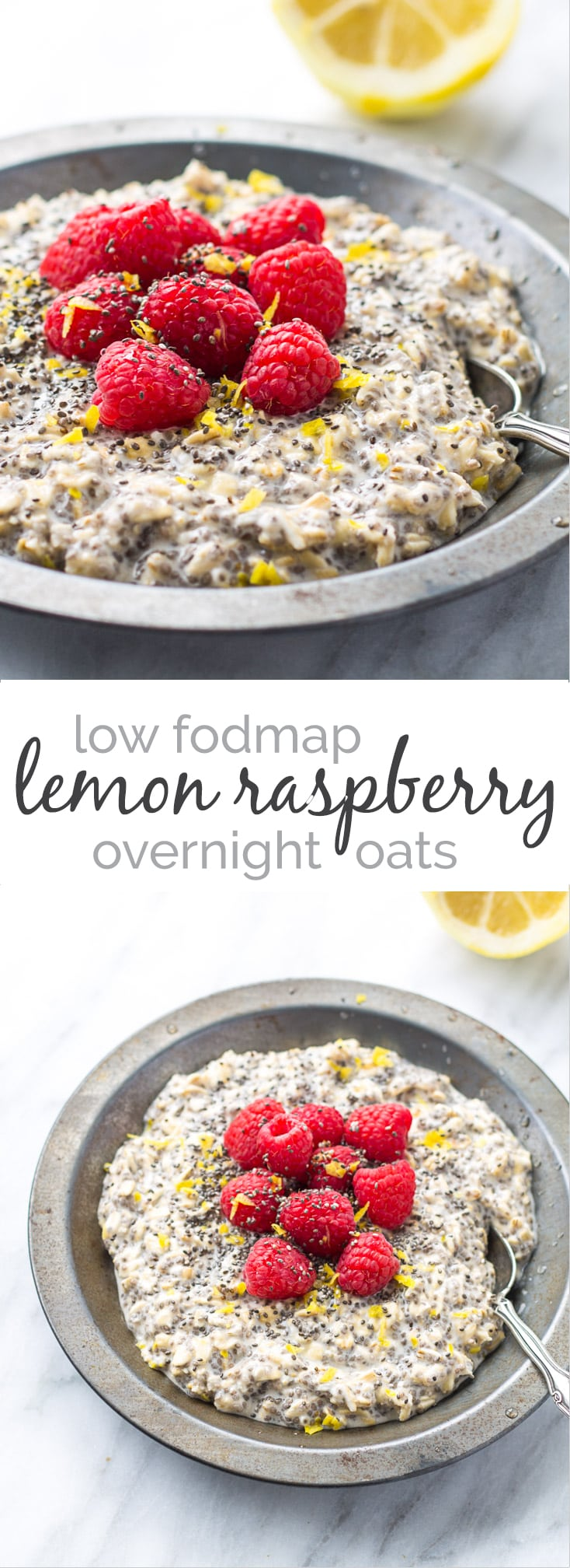 Take just five minutes at night to whip up this Low Fodmap Lemon Raspberry Overnight Oats recipe and you'll have a gluten free breakfast that is easy, light and refreshing! || FunWithoutFodmaps || Low Fodmap Recipe