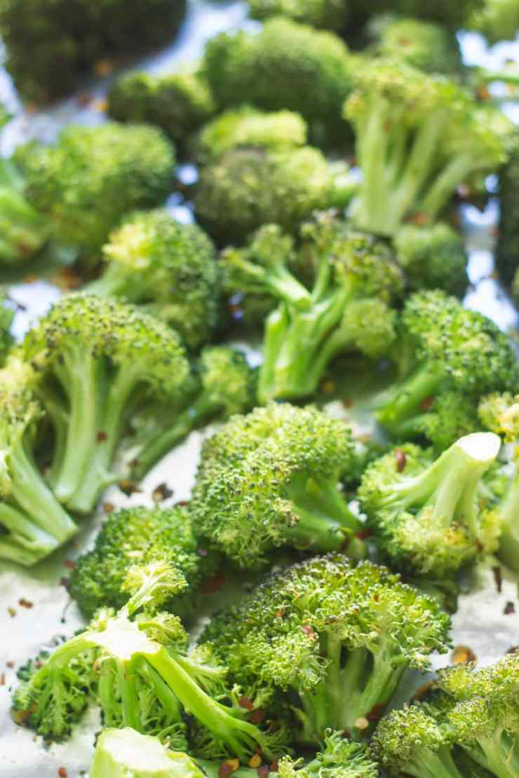 Perfect with paired with grilled chicken, steak or other favorite protein food, this Low Fodmap Spicy Roasted Broccoli recipe is an easy side dish and a great way to get your greens.