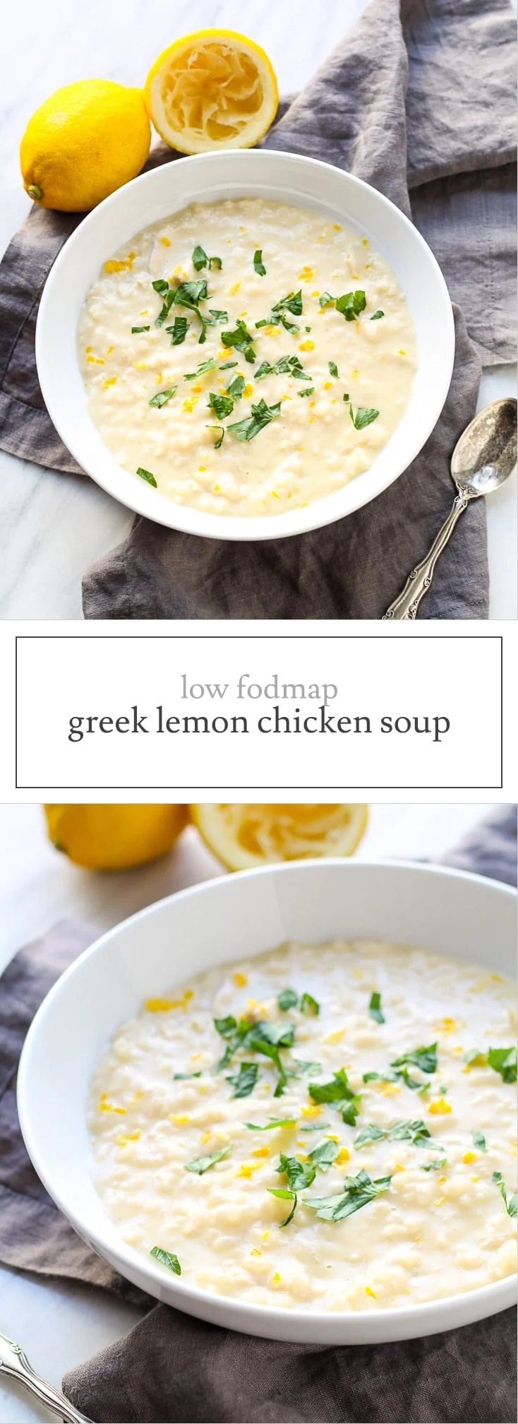 Creamy, comforting and oh-so-good, this Low FODMAP Greek Lemon Chicken Soup is a delicious way to warm up! It's also gluten free and dairy free.