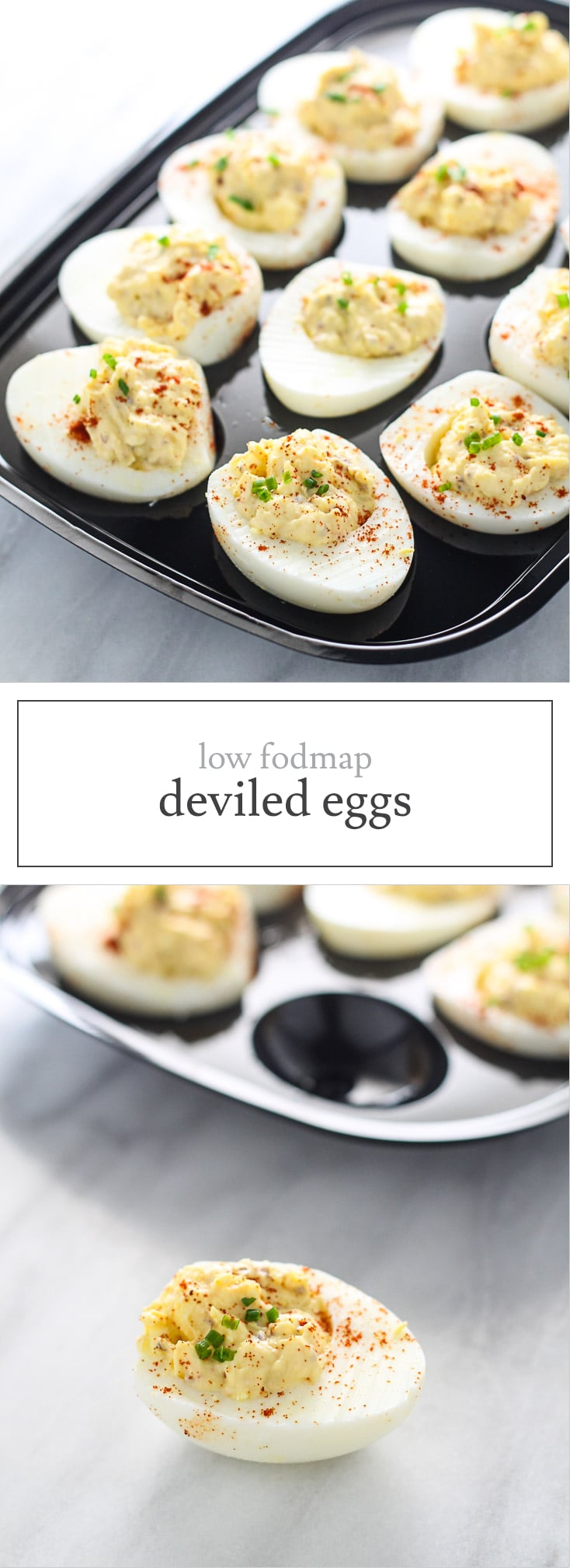 Low FODMAP Deviled Eggs - a FODMAP-friendly recipe for the classic appetizer. Make these bites for tailgating, holiday parties and more!
