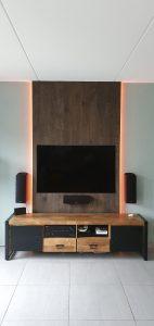 TV wand meubel verouderd eiken, front view