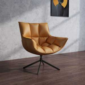 China Modern leather Linen Leisure Orange Lounge Chair swivel chair Computer Chair With steel frame -furbyme (4)