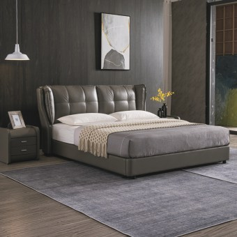 jxf6738 China Modern High End Luxury design Bedroom Furniture Double Bed Leather Bed