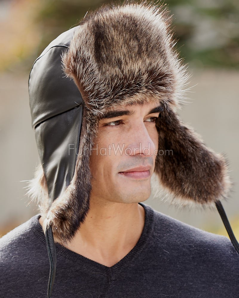 Raccoon Fur & Leather Aviator Hat