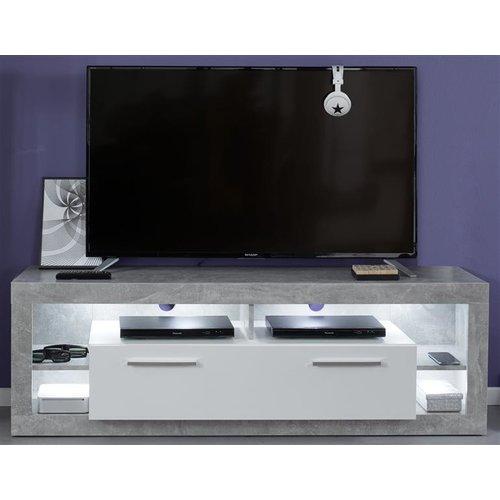 Tv Unterteil In Hochglanz Weiss Mit Stone Grau Tv Lowboard 150 Cm