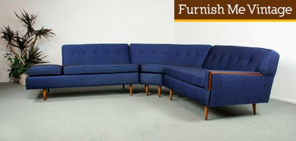 3 piece mid century modern sofa sectional
