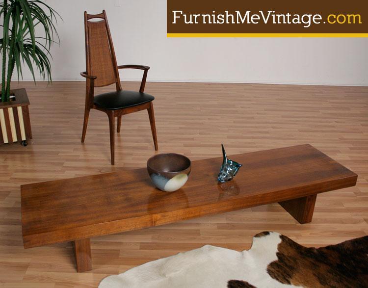 long low slab mid century modern coffee table