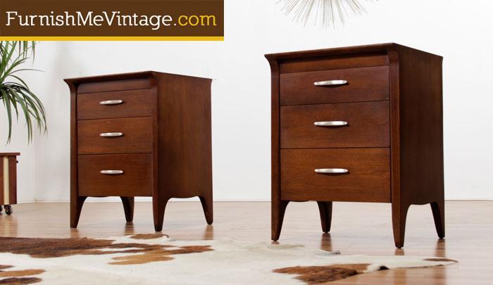 pair of mid century modern drexel profile tall nightstands