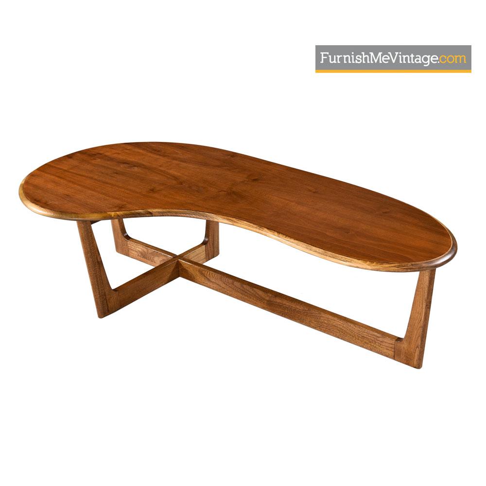 solid oak and walnut amoeba shape coffee table