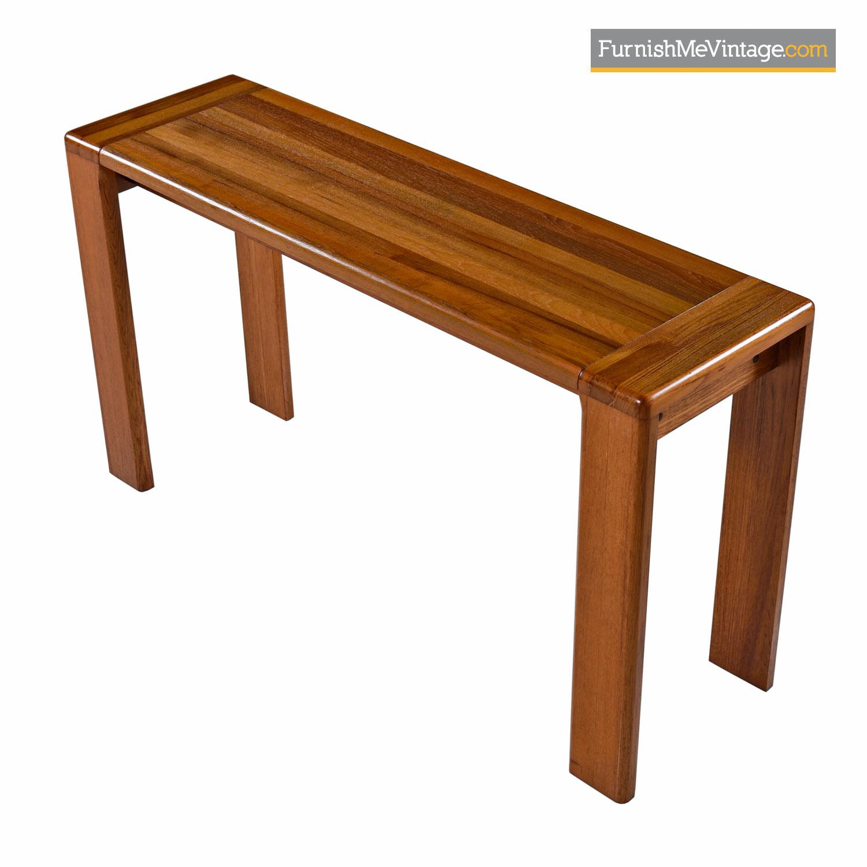 Solid Teak Console Table Scandinavian Modern Circa 1970s