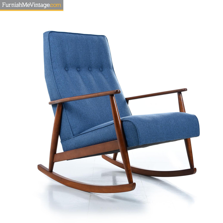 German Beech Mid Century Modern Blue Rocking Chair