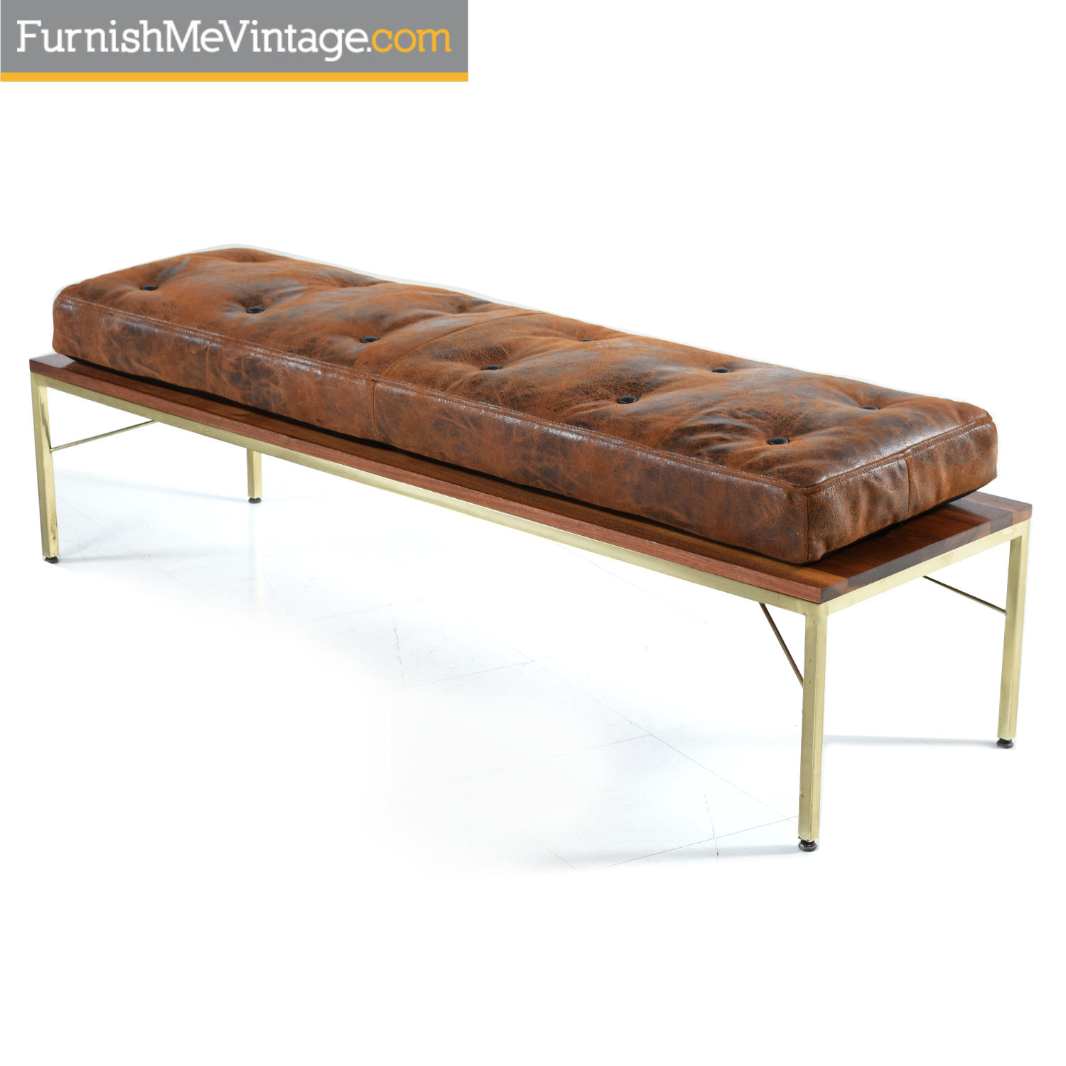 Walnut Brass And Leather Mid Century Modern Coffee Table Bench Combo