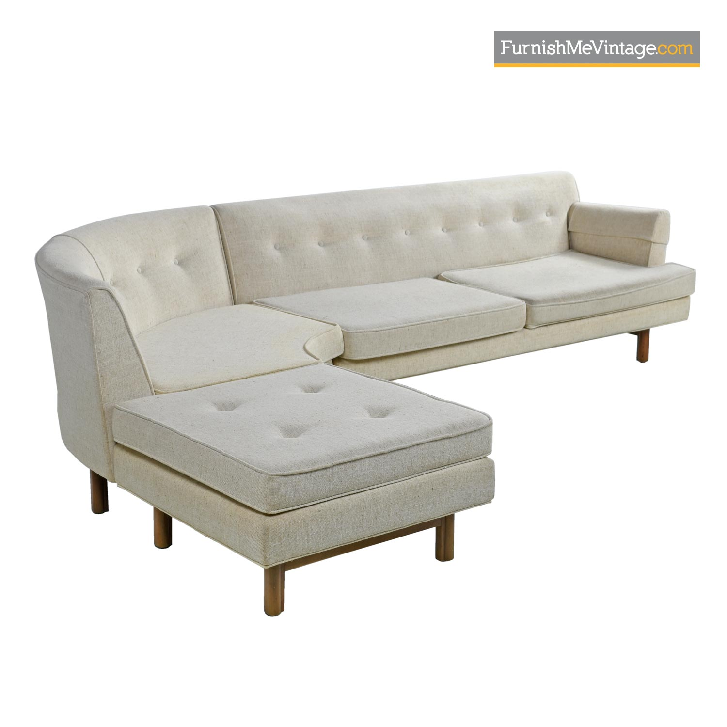 edward wormley style mid century modern tufted sectional sofa couch