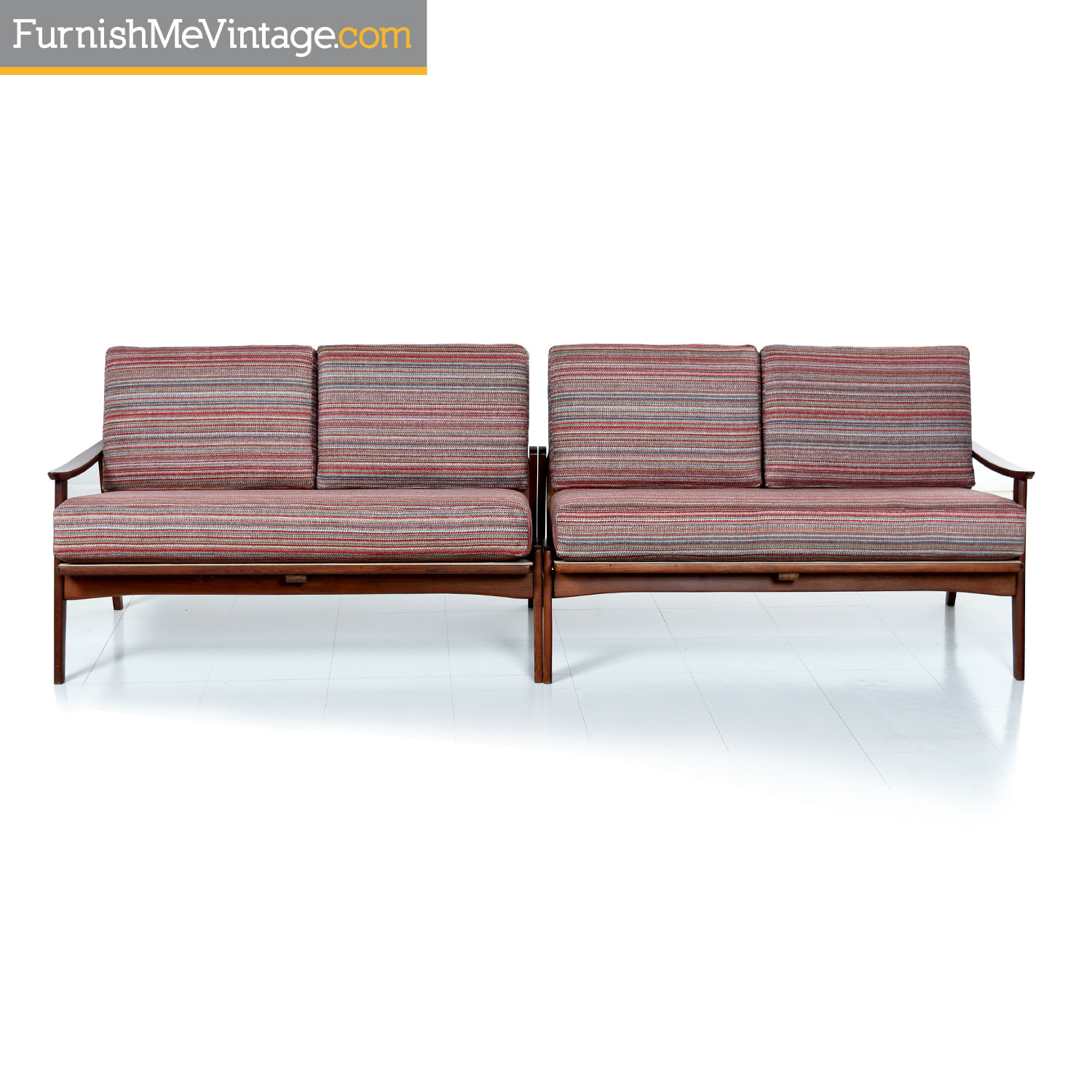 italian mid century modern two piece sofa sectional