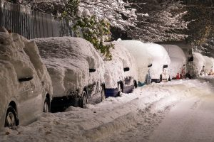 white winter with cars covered in snow