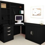 Small Office Corner Desk Set With 3 Drawers Cupboard Hutch Bookcases Black Havana Furniture At Work