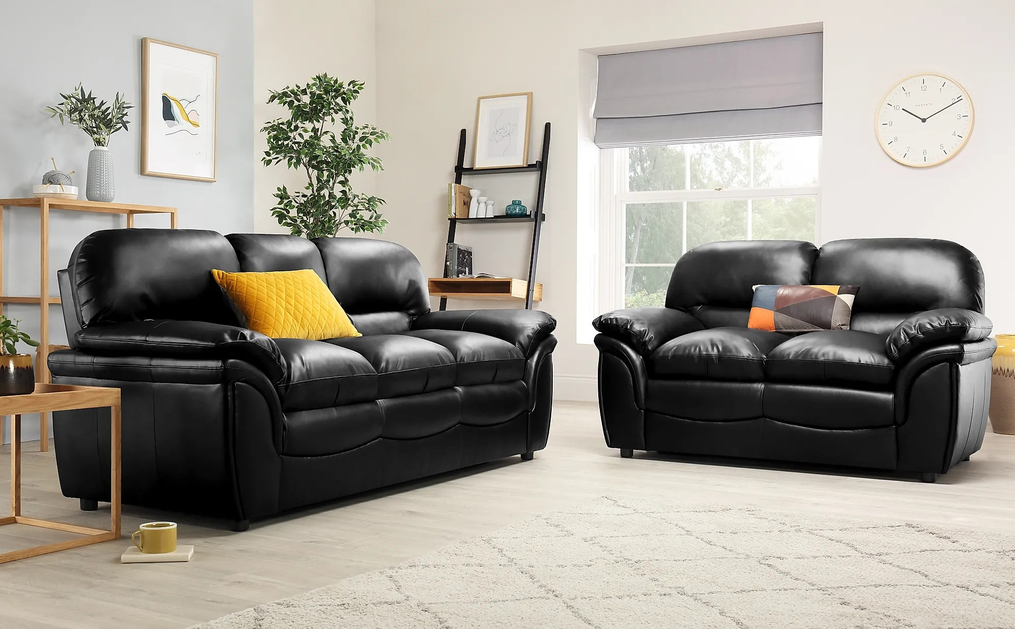 Rochester Black Leather 3 2 Seater Sofa Set Furniture Choice