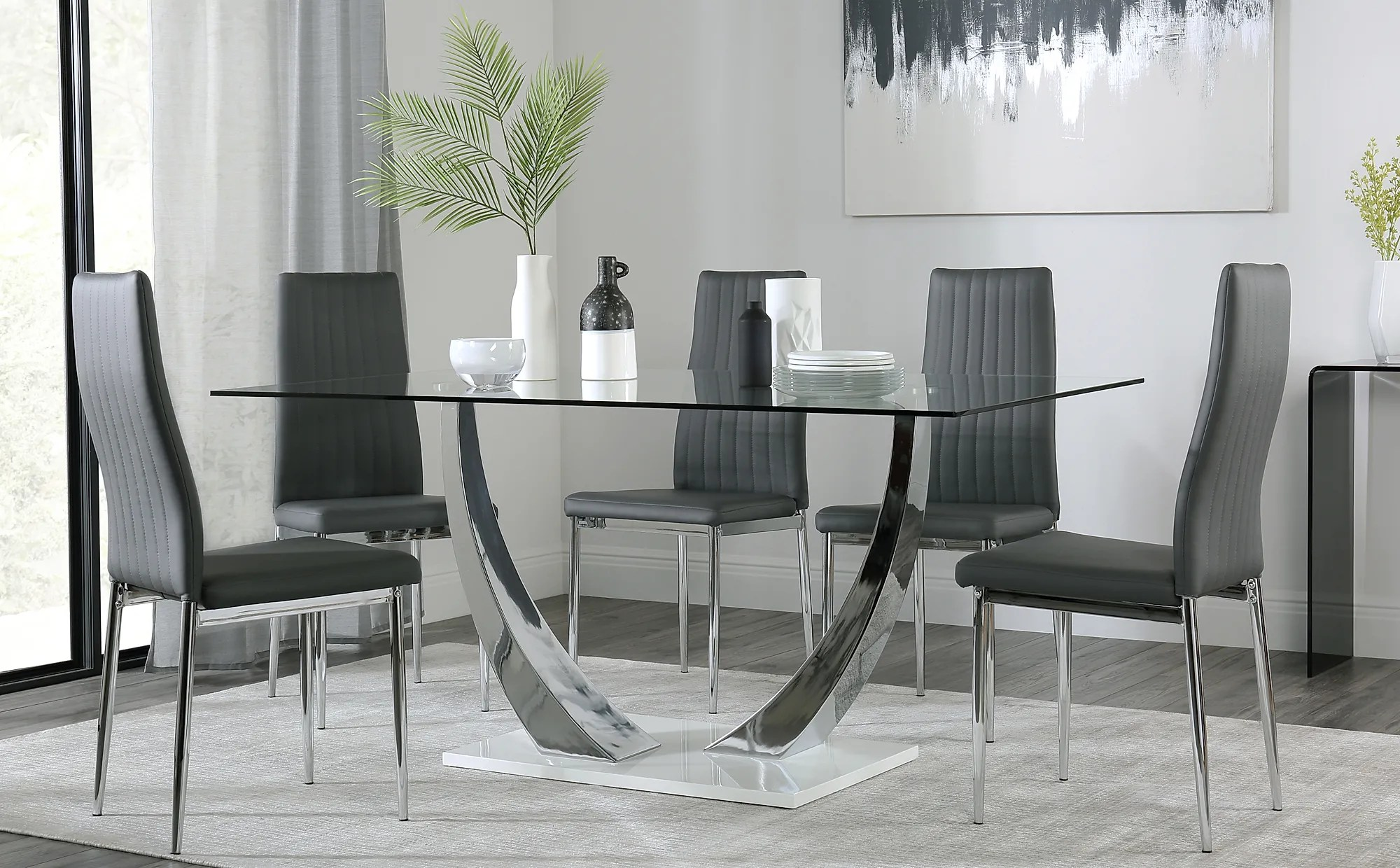 Peake Amp Leon White High Gloss And Glass Dining Table Amp 4 6