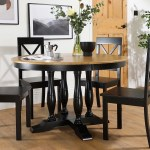 Highgrove Round Painted Painted Black And Oak Dining Table With 4 Kendal Black Chairs Furniture Choice