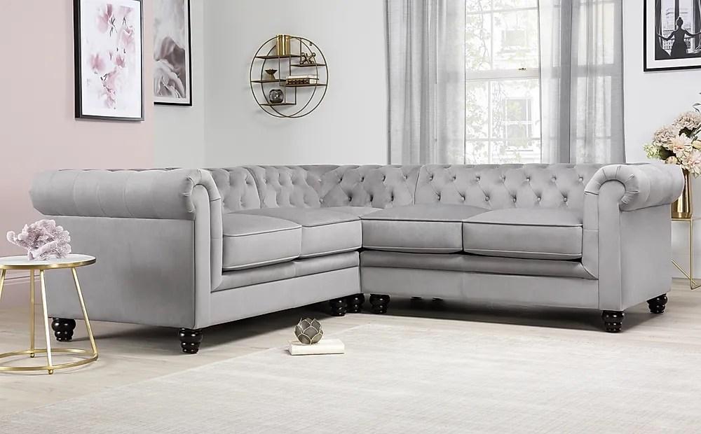 hampton grey velvet chesterfield corner sofa furniture and choice