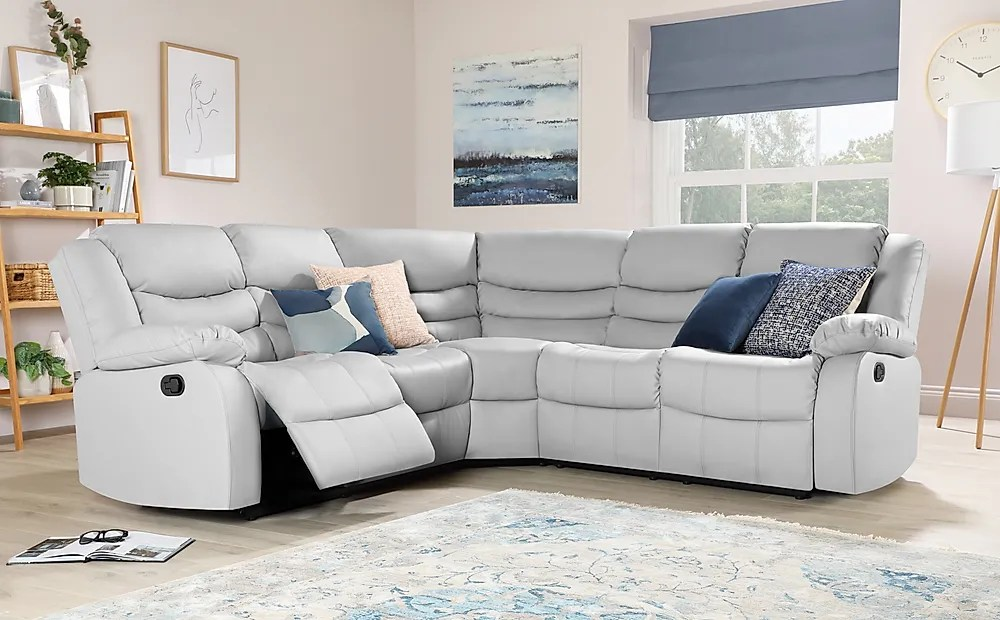 sorrento light grey leather recliner corner sofa furniture and choice