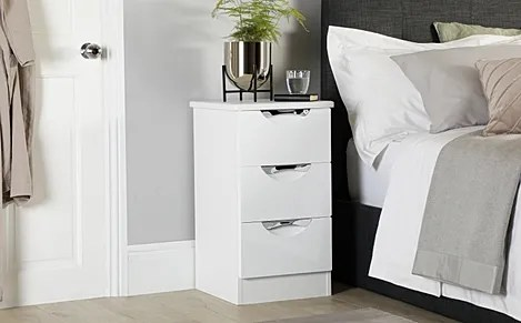 camden white and white high gloss 3 drawer bedside table