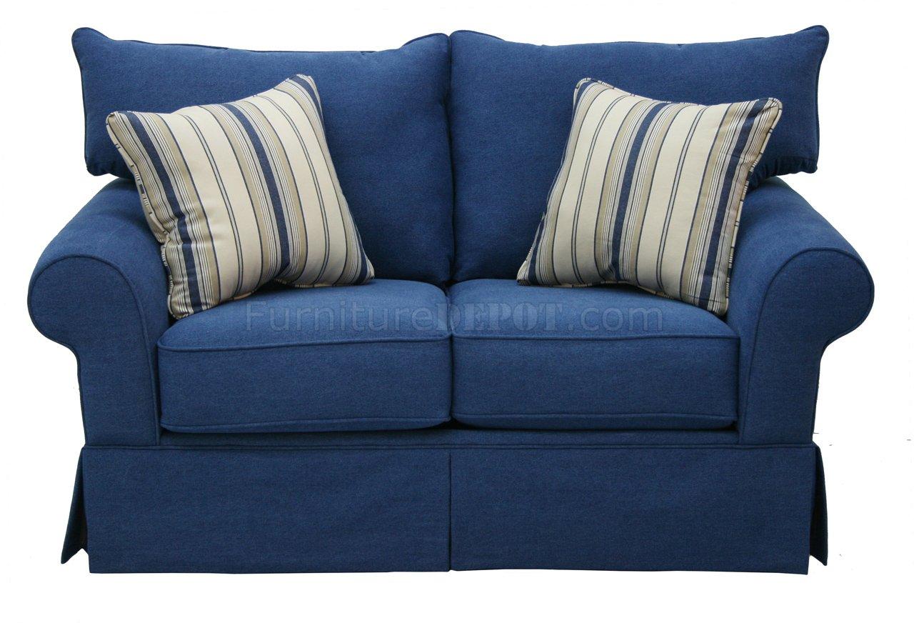 Blue Denim Fabric Modern Sofa Amp Loveseat Set WOptions