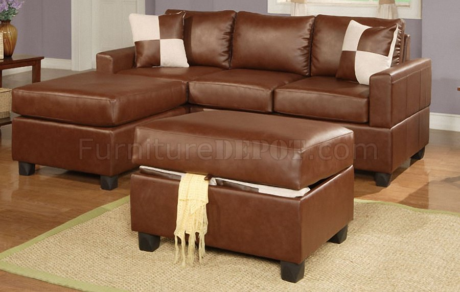 brown bonded leather contemporary small