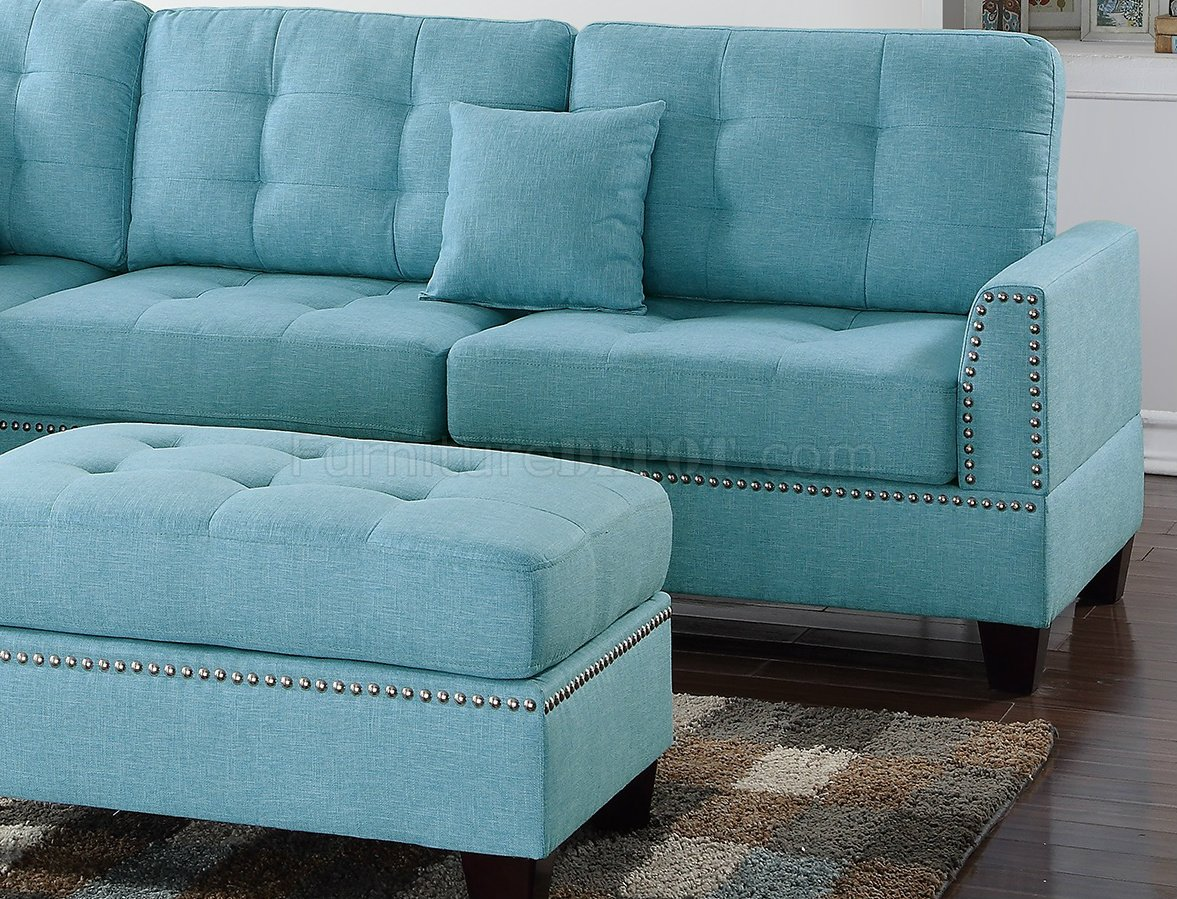 f6505 sectional sofa in light blue
