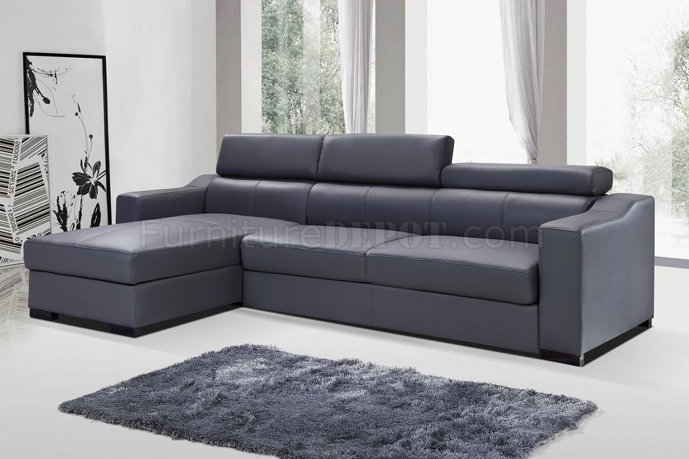 Ritz Sleeper Sectional Sofa In Grey Leather By JampM