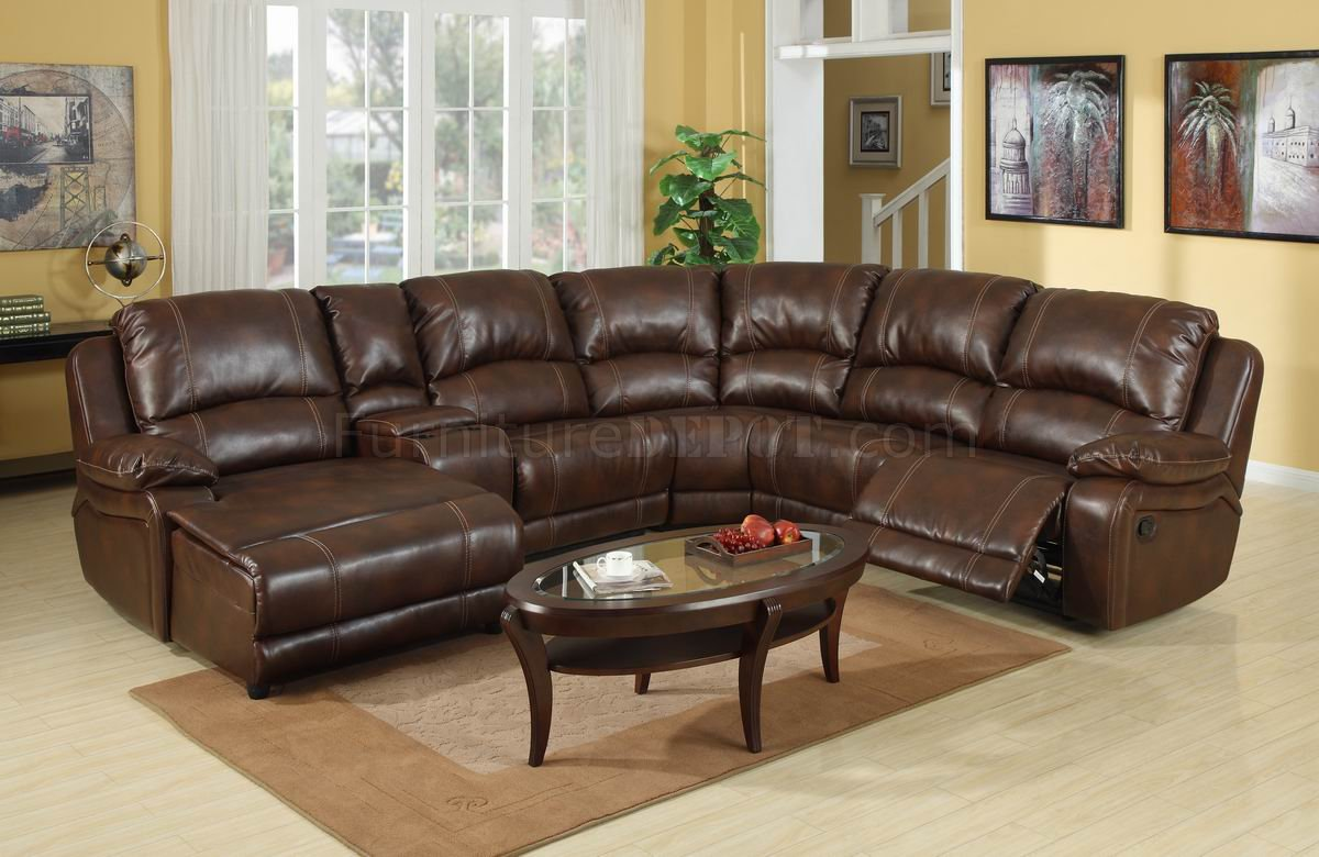 Wine Bonded Leather Modern Reclining Sectional Sofa WConsole