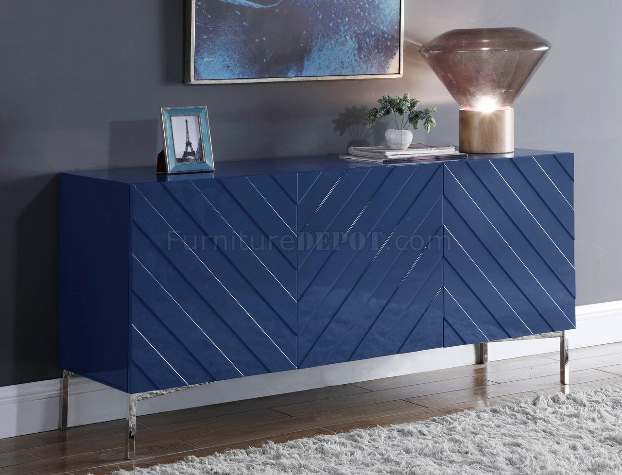Collette Buffet 309 In Navy Blue Lacquer By Meridian