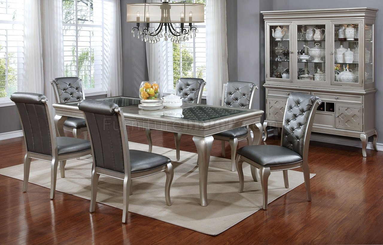 Amina CM3219T 66 5Pc Dining Set In Silver Tone WOptions