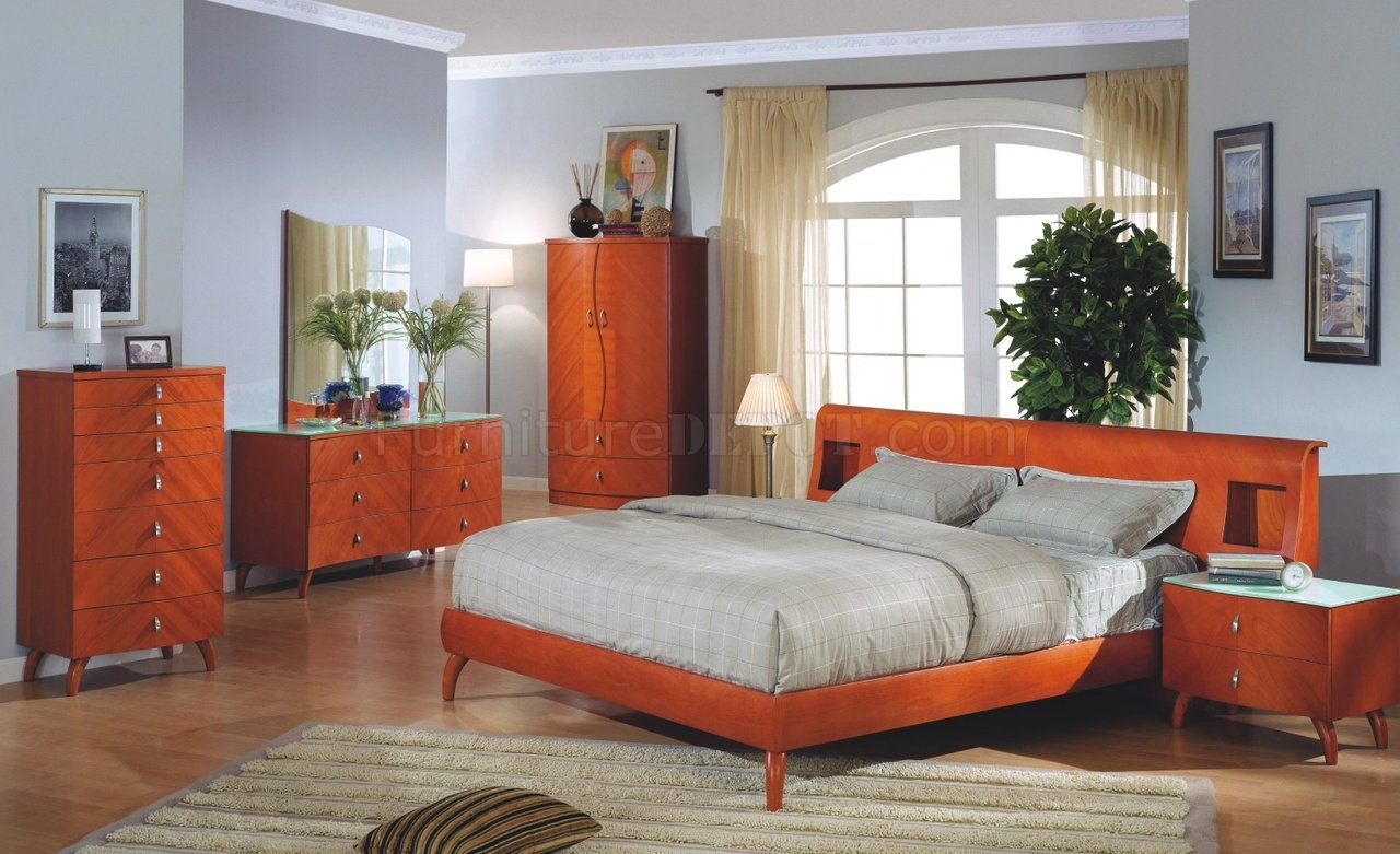 cherry finish contemporary bedroom set w/optional case goods