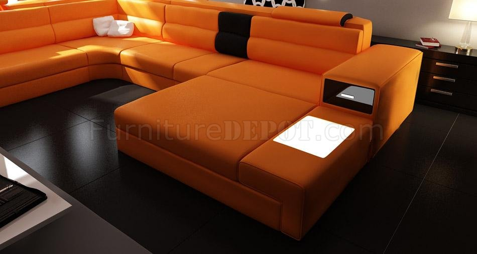 Polaris Sectional Sofa In Orange Bonded Leather By VIG