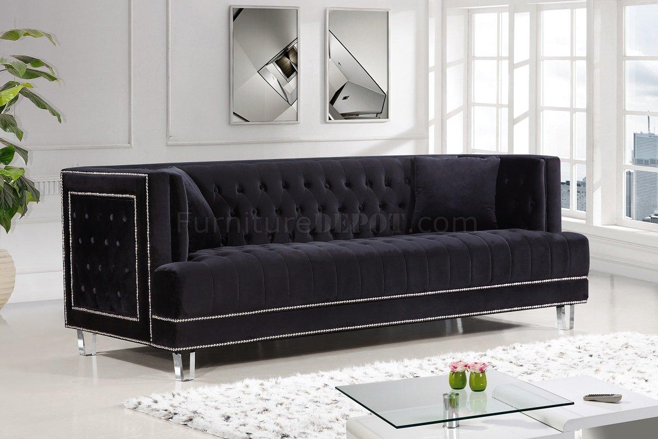 Lucas Sofa 609 In Black Velvet Fabric WOptions