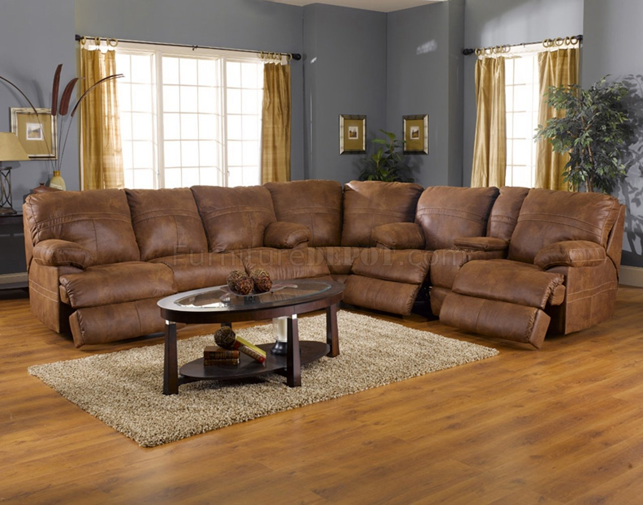 Rich Tanner Faux Leather Fabric Ranger Modern Sectional Sofa