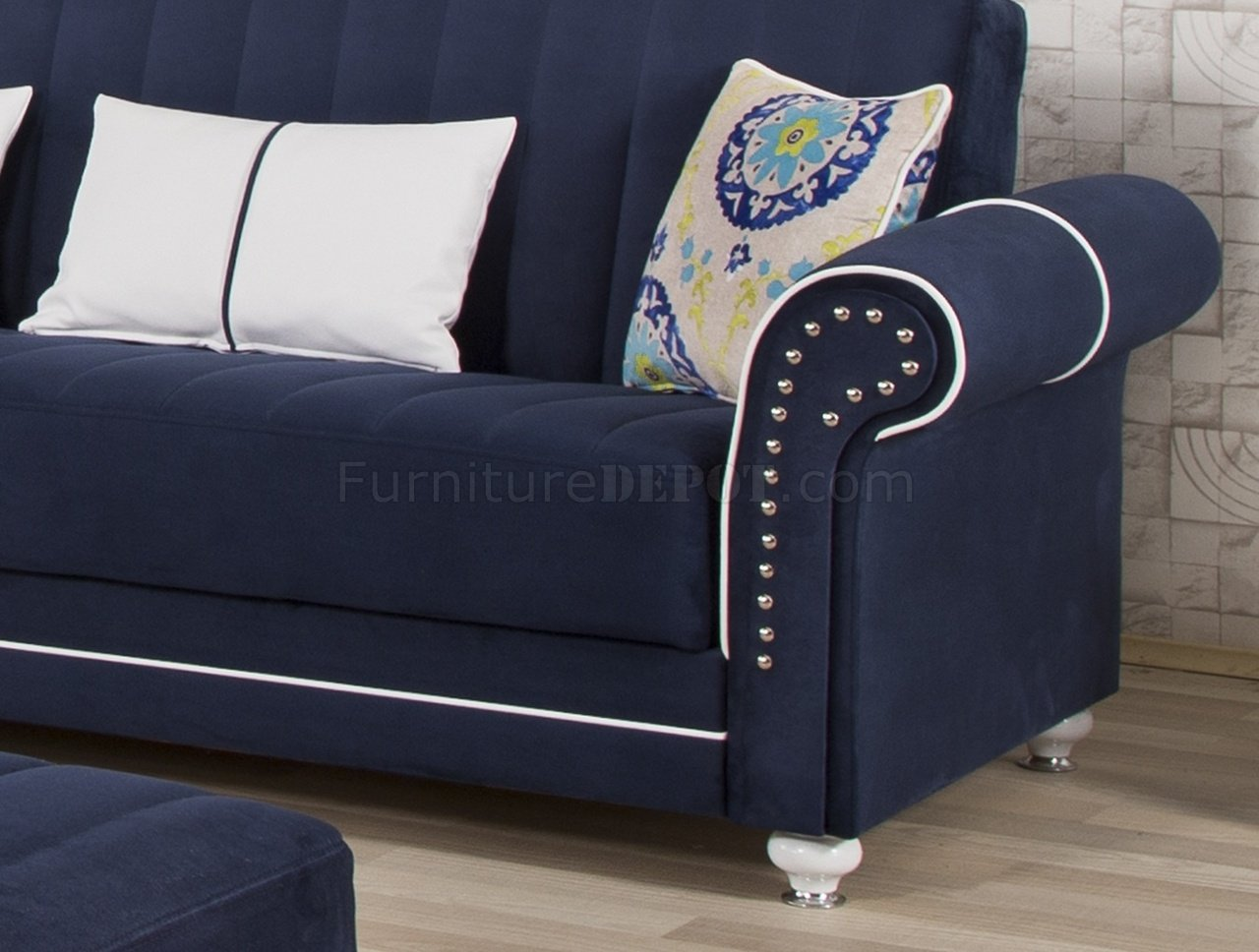 royal home sectional sofa in dark blue