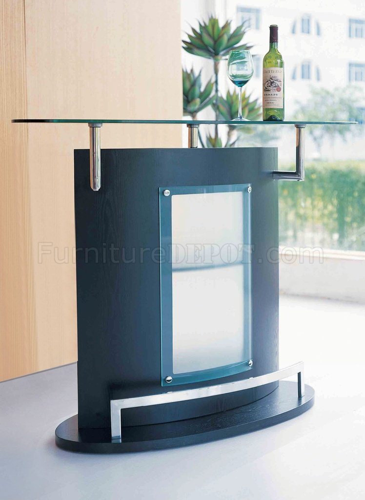 Black Modern Bar Table WGlass Top Amp Chromed Metal Accent