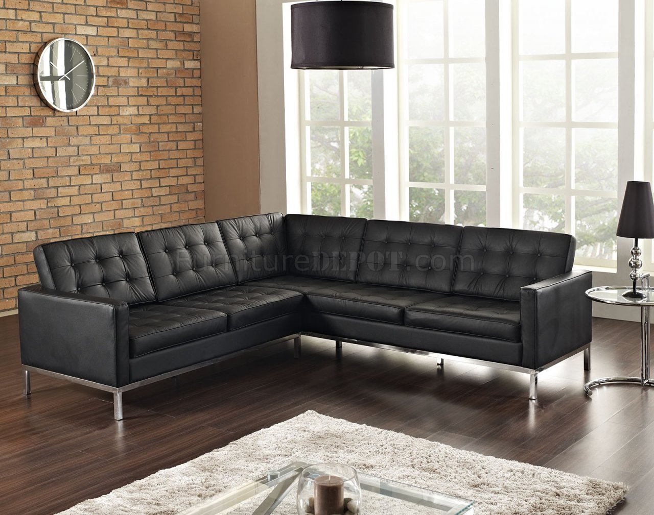 Loft L Shaped Sectional Sofa In Black Leather By Modway