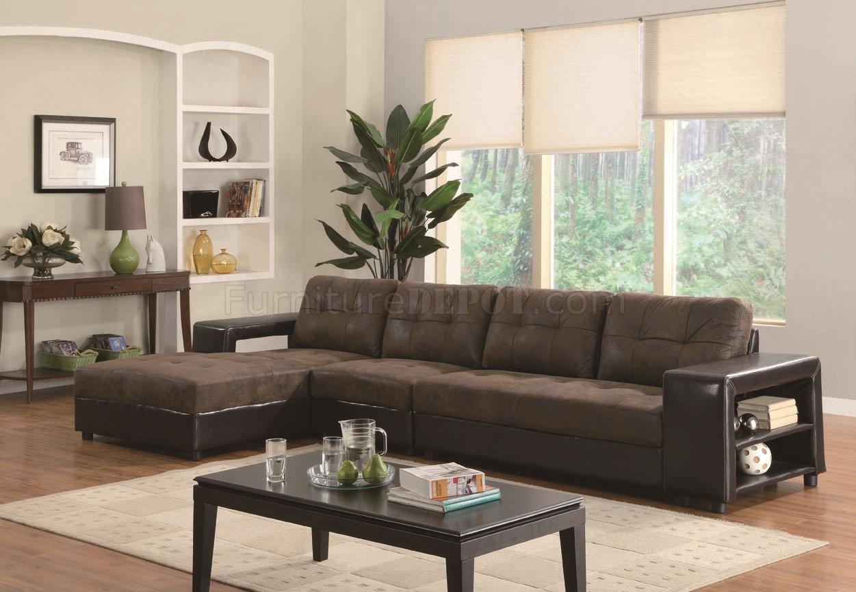 Two Tone Microfiber Vinyl Tufted Cushion Modern Sectional Sofa