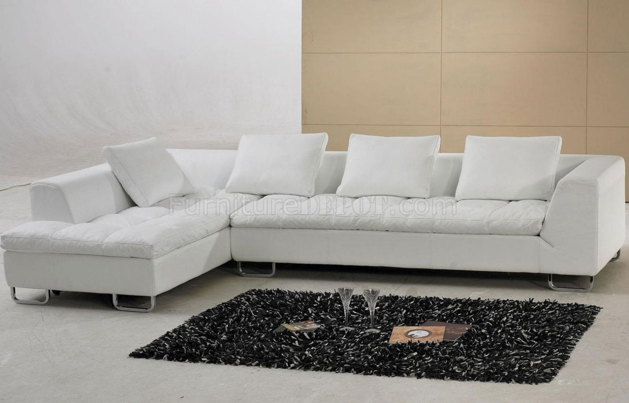White Leather Modern Sectional Sofa WMetal Legs