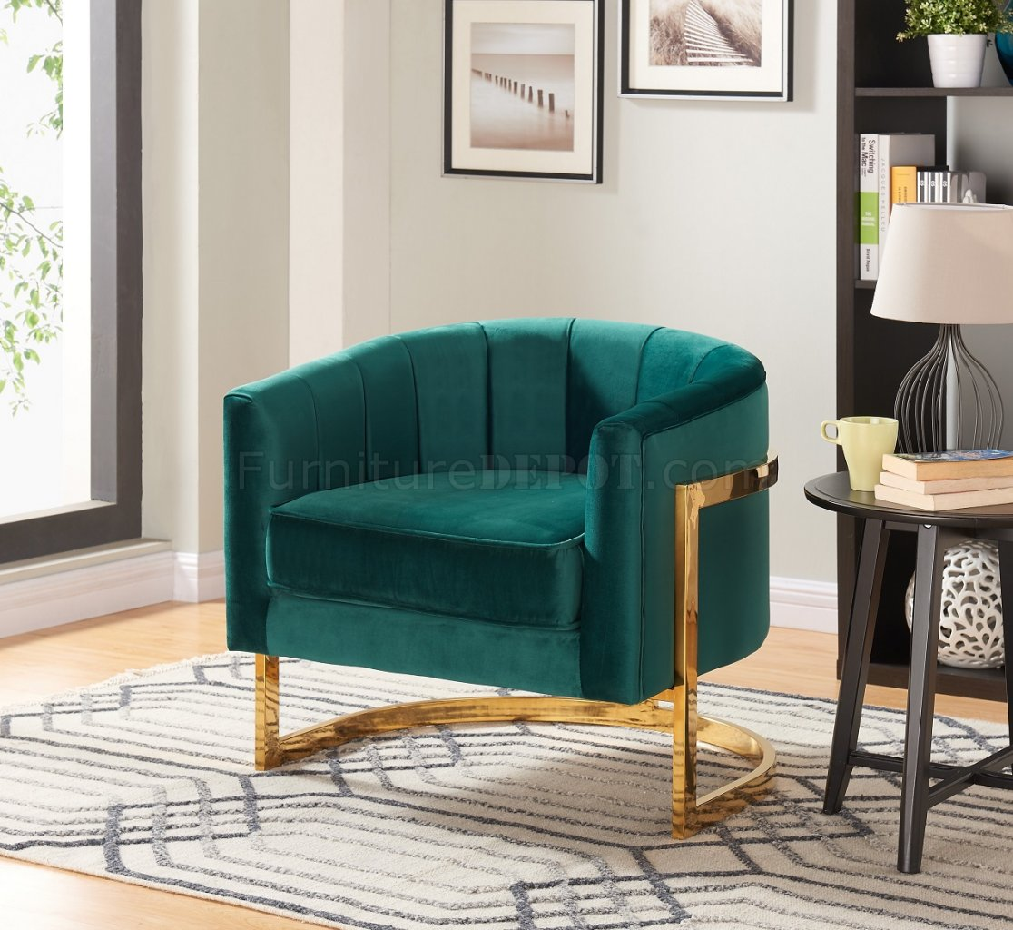 Carter Accent Chair 515 In Green Velvet By Meridian